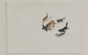 Buzzard Meat (detail) - watercolor, 12.5 x 9cm, SOLD