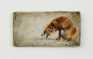 Obsequium - Mixed media on board, 18 x 9cm, SOLD