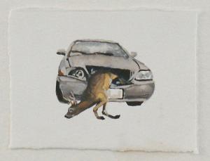 The Fatal Days (detail) - watercolor and gouache, 11.5 x 8.5cm, SOLD