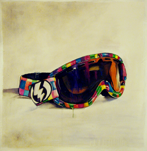 B-Cat (The Goggles). Watercolor & Acrylic.
